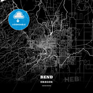 Black map poster template of Bend, Oregon, USA - HEBSTREITS