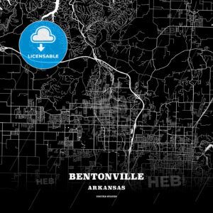 Black map poster template of Bentonville, Arkansas, USA - HEBSTREITS