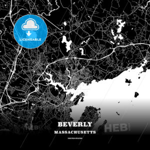 Black map poster template of Beverly, Massachusetts, USA - HEBSTREITS