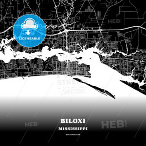 Black map poster template of Biloxi, Mississippi, USA - HEBSTREITS
