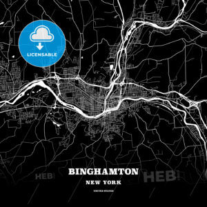 Black map poster template of Binghamton, New York, USA - HEBSTREITS