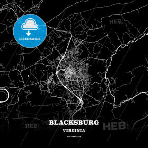 Black map poster template of Blacksburg, Virginia, USA - HEBSTREITS