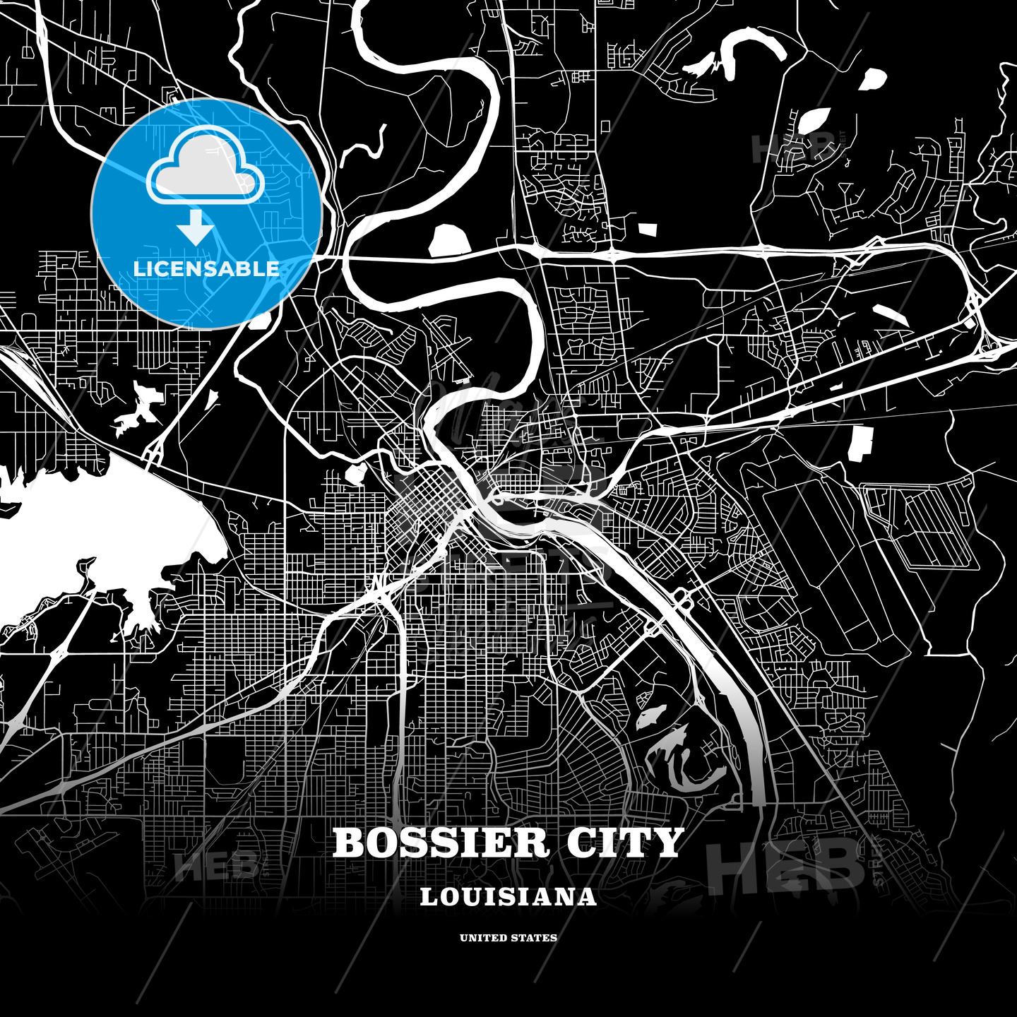 Black map poster template of Bossier City, Louisiana, USA