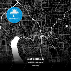 Black map poster template of Bothell, Washington, USA - HEBSTREITS
