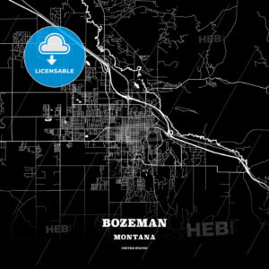 Black map poster template of Bozeman, Montana, USA - HEBSTREITS