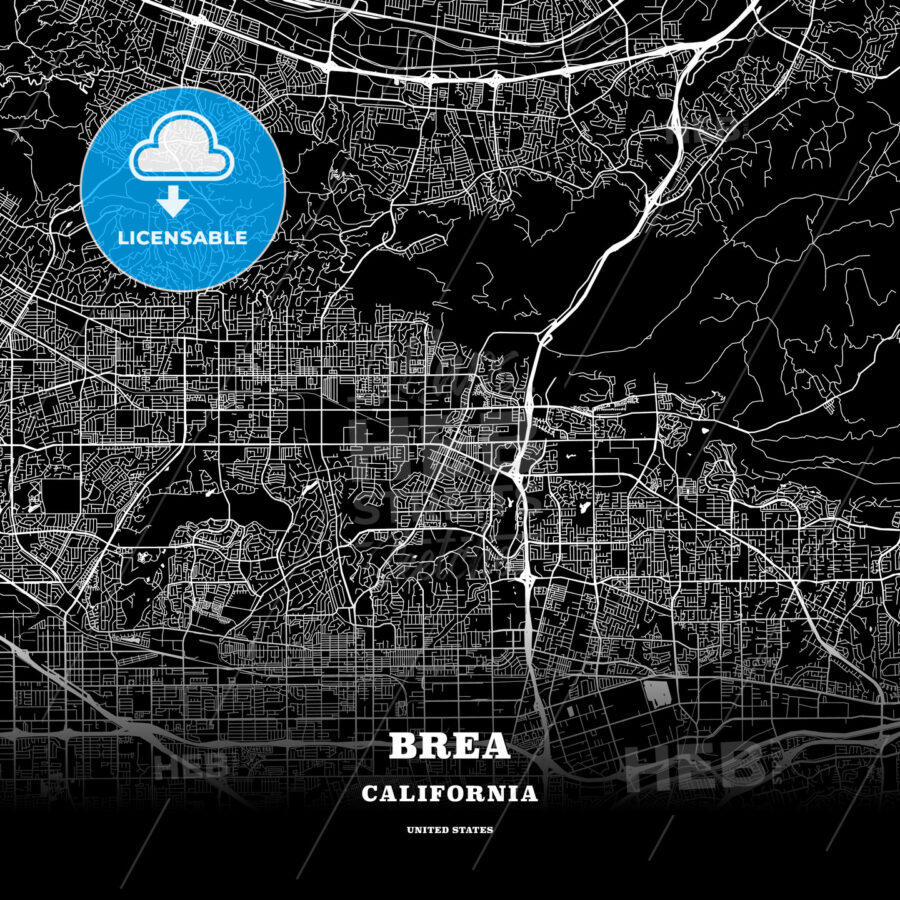 Black map poster template of Brea, California, USA - HEBSTREITS