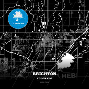 Black map poster template of Brighton, Colorado, USA - HEBSTREITS