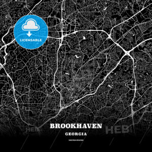 Black map poster template of Brookhaven, Georgia, USA - HEBSTREITS