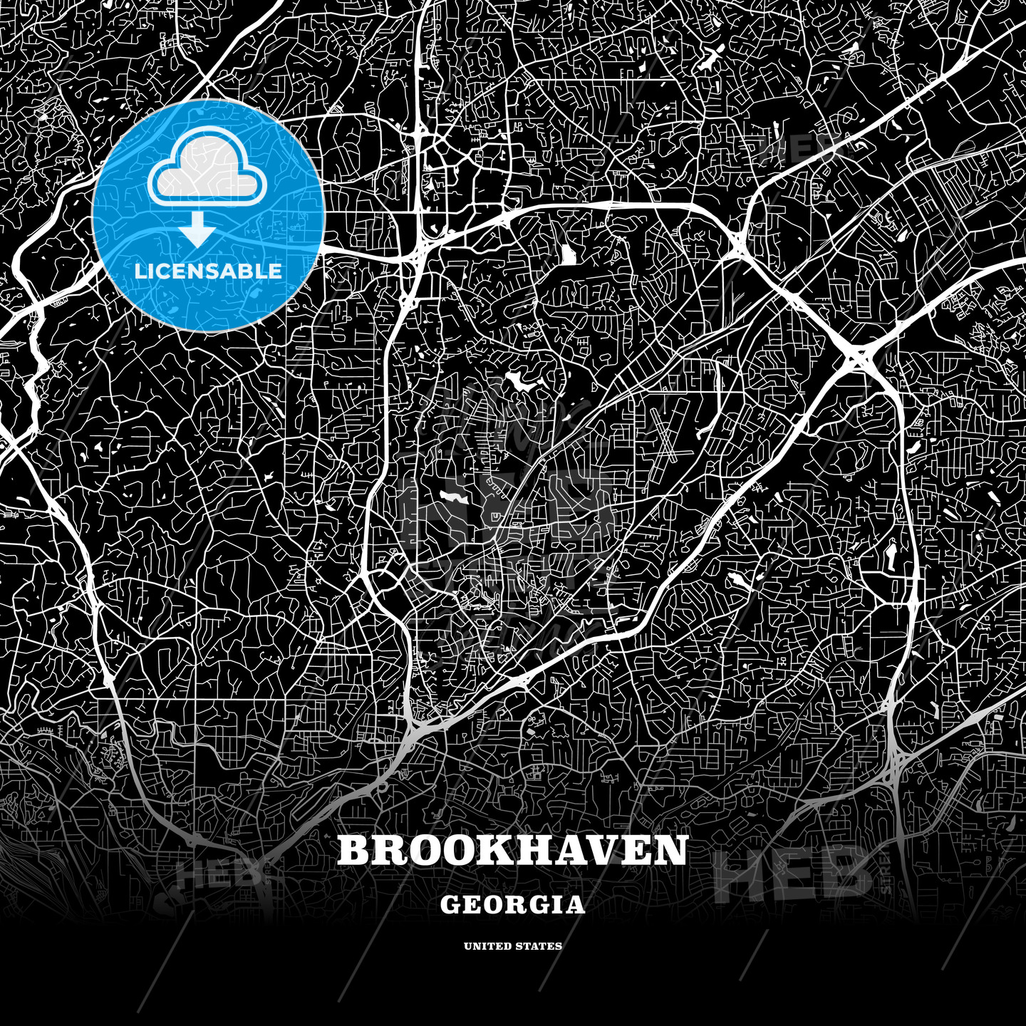 Black map poster template of Brookhaven, Georgia, USA | HEBSTREITS