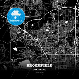 Black map poster template of Broomfield, Colorado, USA - HEBSTREITS