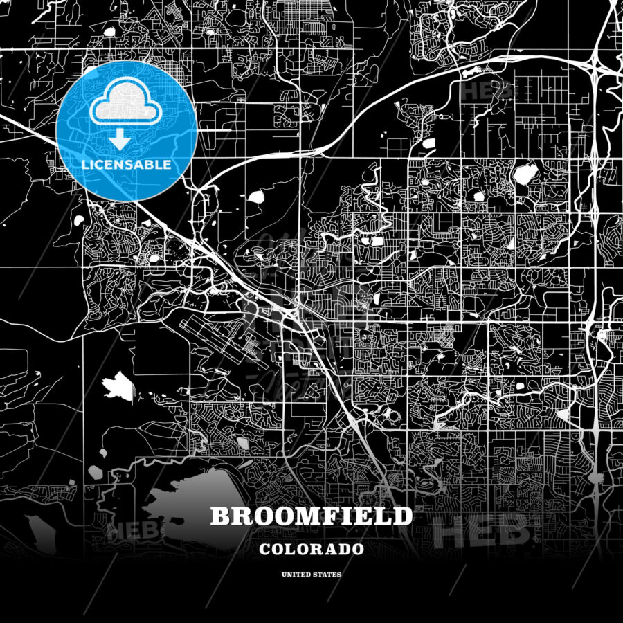 Black map poster template of Broomfield, Colorado, USA | HEBSTREITS ...