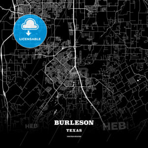 Black map poster template of Burleson, Texas, USA - HEBSTREITS