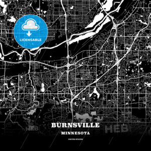 Black map poster template of Burnsville, Minnesota, USA - HEBSTREITS