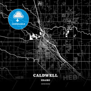 Black map poster template of Caldwell, Idaho, USA - HEBSTREITS