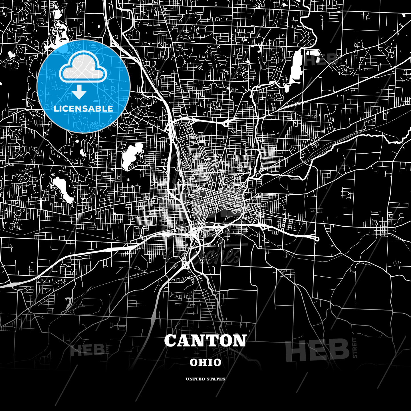 Black Map Poster Template Of Canton Ohio Usa Hebstreits