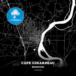 Black map poster template of Cape Girardeau, Missouri, USA - HEBSTREITS