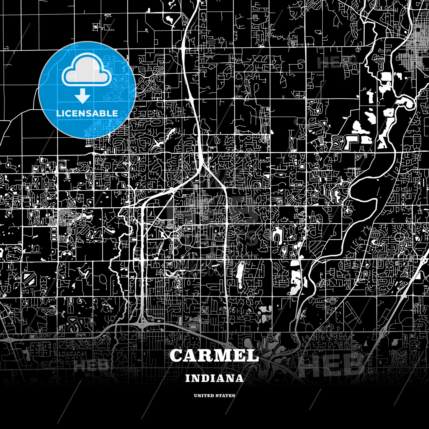 Black Map Poster Template Of Carmel Indiana Usa Hebstreits Sketches