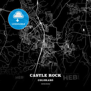 Black map poster template of Castle Rock, Colorado, USA - HEBSTREITS
