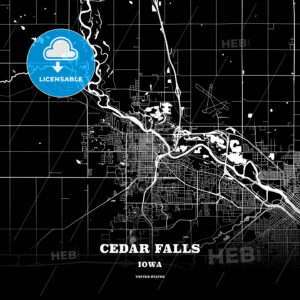 Black map poster template of Cedar Falls, Iowa, USA - HEBSTREITS
