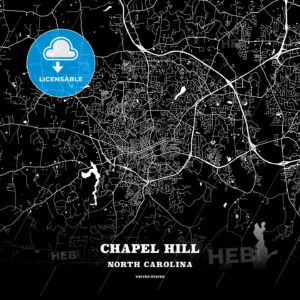 Black map poster template of Chapel Hill, North Carolina, USA - HEBSTREITS