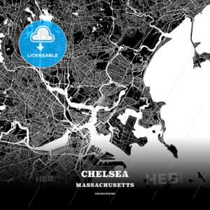 Black map poster template of Chelsea, Massachusetts, USA - HEBSTREITS