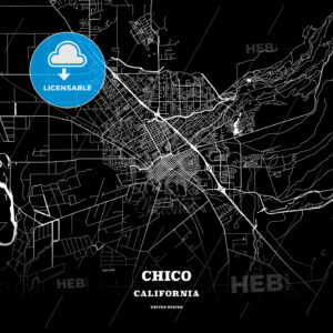 Black map poster template of Chico, California, USA - HEBSTREITS