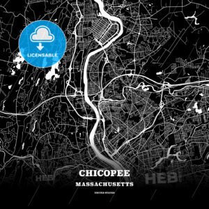 Black map poster template of Chicopee, Massachusetts, USA - HEBSTREITS