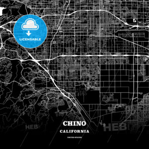 Black map poster template of Chino, California, USA - HEBSTREITS