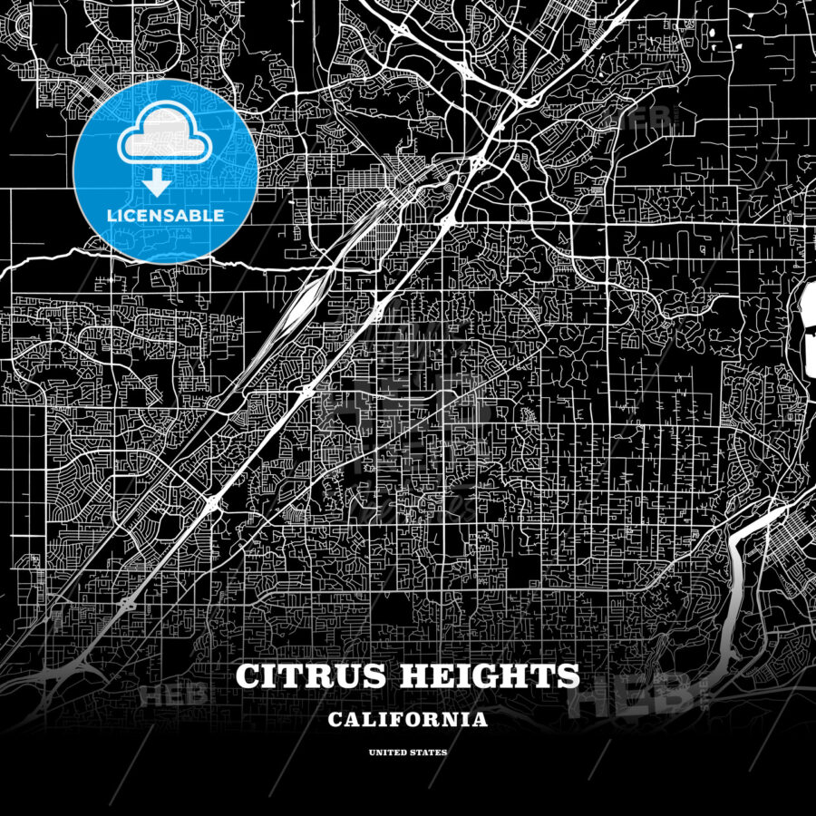 Black map poster template of Citrus Heights, California, USA - HEBSTREITS