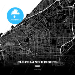 Black map poster template of Cleveland Heights, Ohio, USA - HEBSTREITS