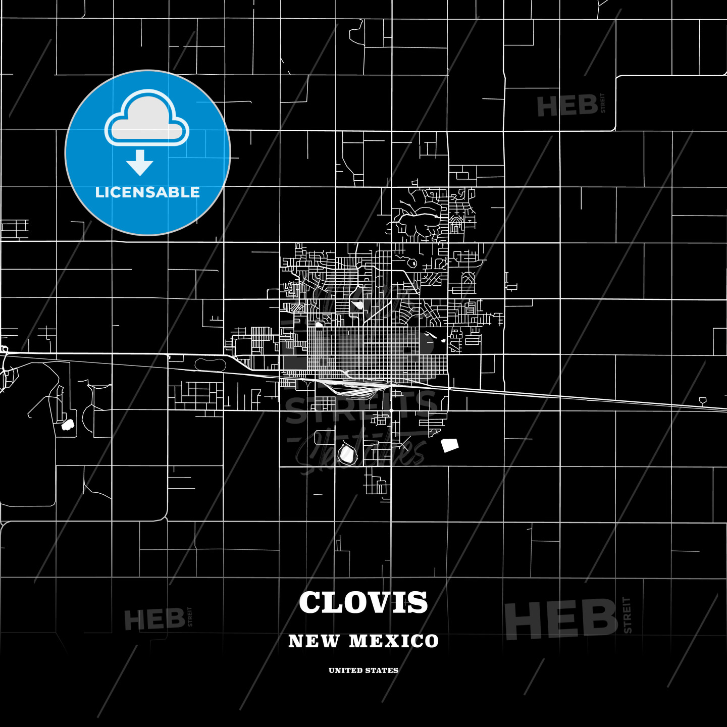 Black Map Poster Template Of Clovis New Mexico Usa Hebstreits