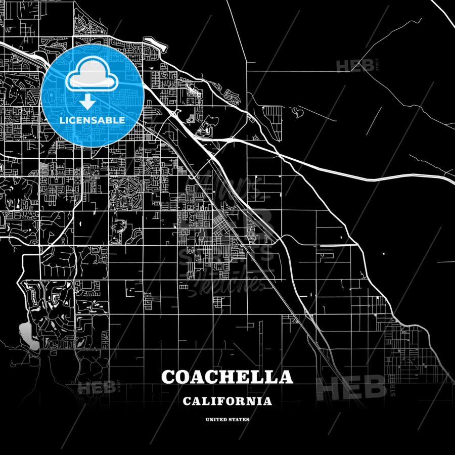 Black Map Poster Template Of Coachella California Usa Hebstreits