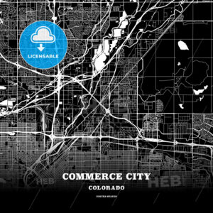 Black map poster template of Commerce City, Colorado, USA - HEBSTREITS