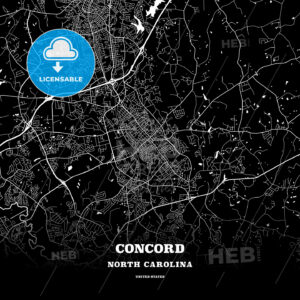 Black map poster template of Concord, North Carolina, USA - HEBSTREITS