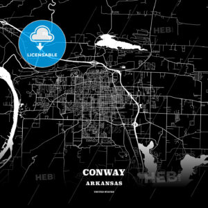Black map poster template of Conway, Arkansas, USA - HEBSTREITS