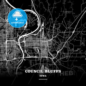 Black map poster template of Council Bluffs, Iowa, USA - HEBSTREITS