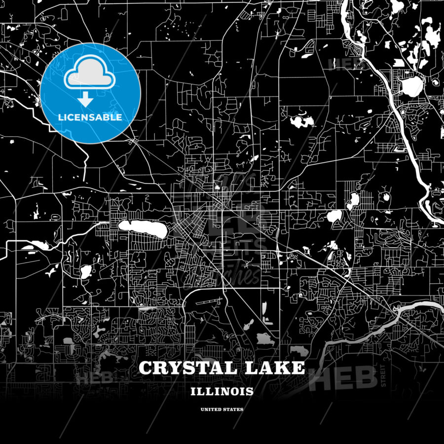Black map poster template of Crystal Lake, Illinois, USA - HEBSTREITS
