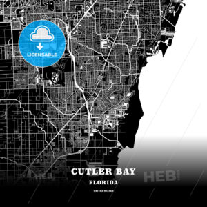 Black map poster template of Cutler Bay, Florida, USA - HEBSTREITS