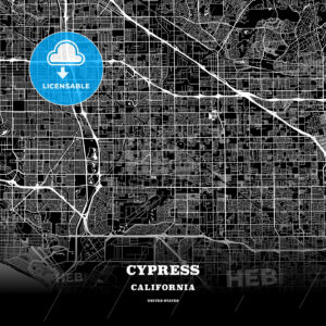 Black map poster template of Cypress, California, USA - HEBSTREITS