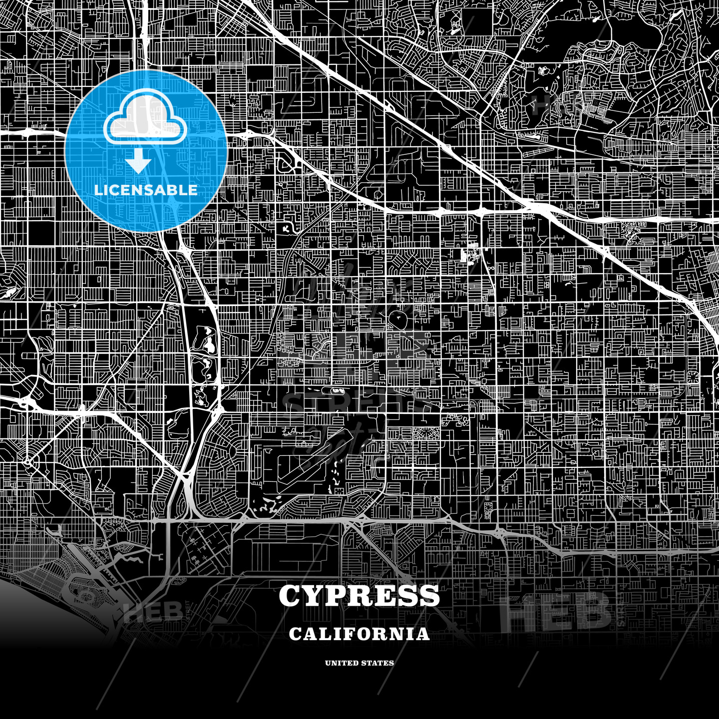 Black Map Poster Template Of Cypress California Usa Hebstreits