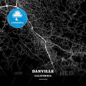 Black map poster template of Danville, California, USA - HEBSTREITS