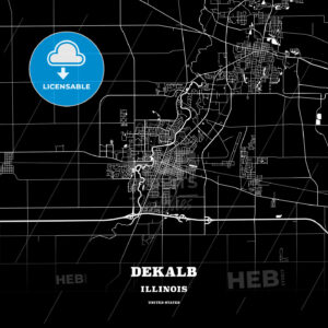 Black map poster template of DeKalb, Illinois, USA - HEBSTREITS