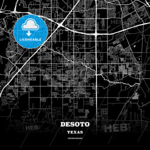 Black map poster template of DeSoto, Texas, USA - HEBSTREITS