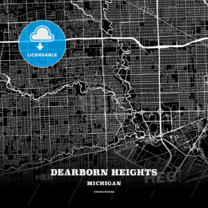 Black map poster template of Dearborn Heights, Michigan, USA - HEBSTREITS