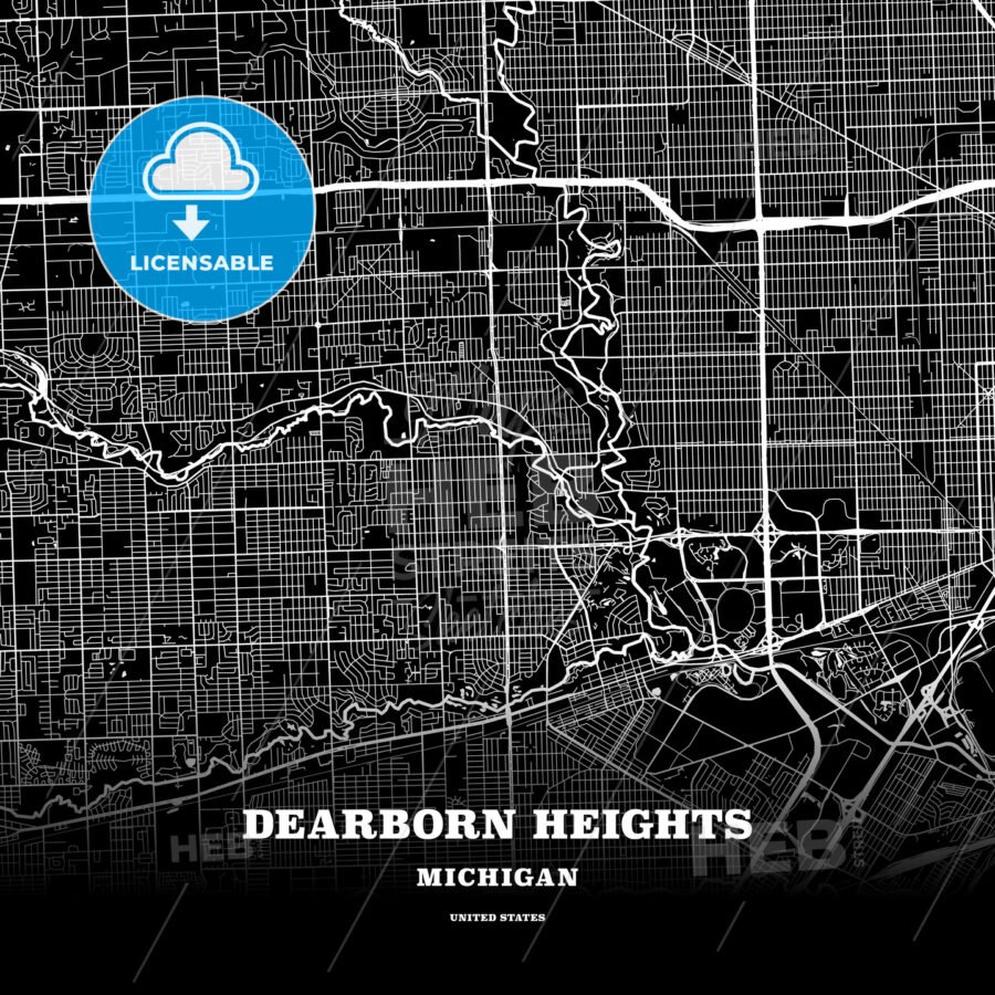Black Map Poster Template Of Dearborn Heights Michigan Usa