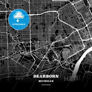 Black map poster template of Dearborn, Michigan, USA - HEBSTREITS
