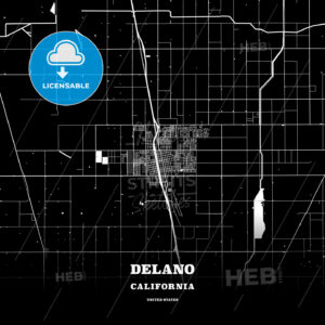 Black map poster template of Delano, California, USA - HEBSTREITS