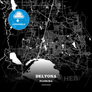 Black map poster template of Deltona, Florida, USA - HEBSTREITS