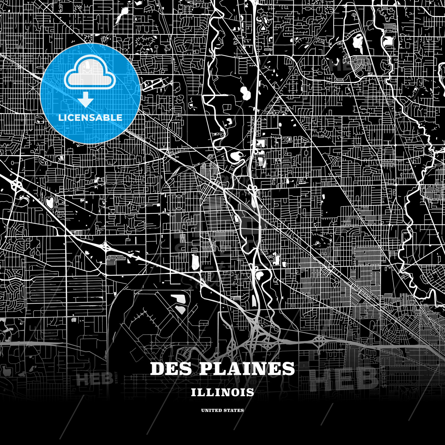 Black map poster template of Des Plaines, Illinois, USA