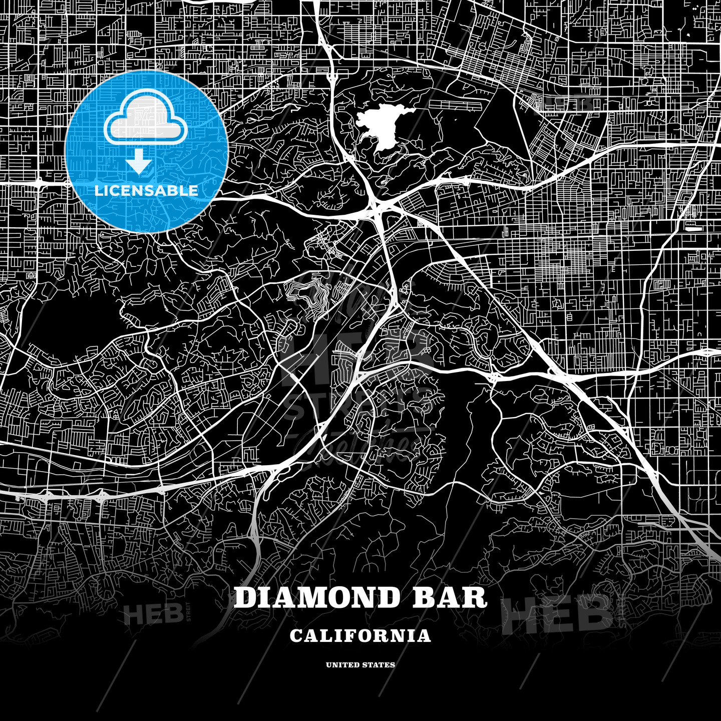 Black map poster template of Diamond Bar, California, USA ... on